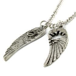 West Coast Jewelry Silvertone Antiqued Angel Wings Necklace with Crown Design