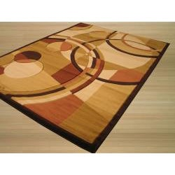 Hand Carved Brown Cubist Rug (7'10 x 9'10) - Thumbnail 1