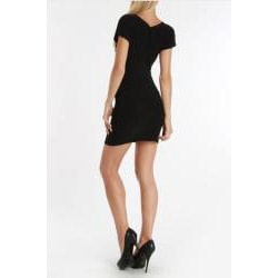 24/7 Frenzy Juniors Black V-Neck Gathered Dress