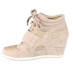 Refresh by Beston Women's 'Dakota' Taupe Sneaker Booties