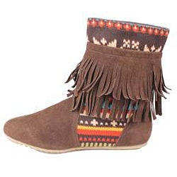 Refresh by Beston Women's 'Mini-03' Brown Fringe Boots - Thumbnail 1