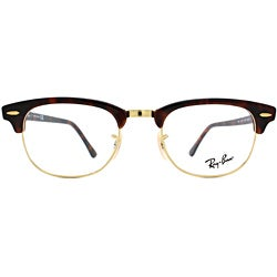 Ray-Ban Unisex RX 5154 Tortoise/ Gold Clubmaster Optical Eyeglasses Frames - Thumbnail 1