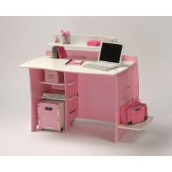 Legare Kids' 43-inch Pink/ White Desk with File Cart - Thumbnail 1