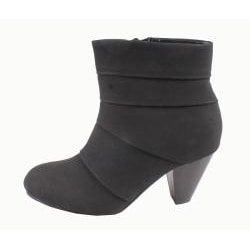 Blossom by Beston Women's 'Ville-2' Faux-Leather Ankle Boots - Black - Thumbnail 1
