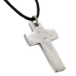 West Coast Jewelry Aged Silvertone Cross Necklace