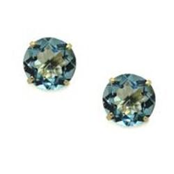 Gioelli 10k Yellow Gold Basket-set Round Blue Topaz Stud Earrings