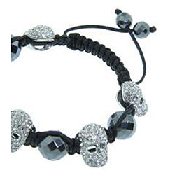 Eternally Haute Hematite Gemstone and Crystal Skull Macrame Bracelet - Thumbnail 1