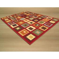 Euro Home Red/ Beige Rug (3'3 x 5') - Thumbnail 1