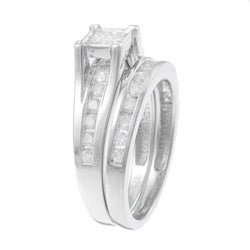 Sterling Silver 1ct TDW Diamond Bridal Ring Set (K-L I1-I2) - Thumbnail 1