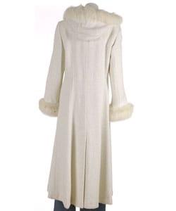 Marvin Richards White Fox Fur Trim Hooded Coat