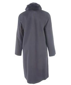 Albert Nipon Black Wool Walking Coat w/Fox Collar - Thumbnail 1