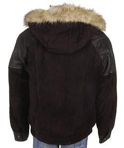 Phat Farm Men's Black Fur Trim Suede Shearling Coat