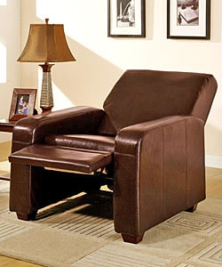 Chocolate Leather Recliner Chair - Thumbnail 1