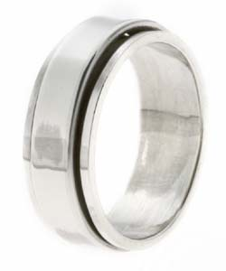 Sterling Silver Men's Pipe-cut Spinner Ring - Thumbnail 1