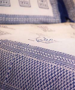 Rapide Blue Leaf/Fish Twin Duvet Cover (India) - Thumbnail 1