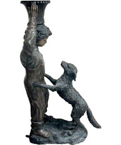 Large Boy and Dog Bronze Sculpture (approx. 5 ft. tall) - Thumbnail 1