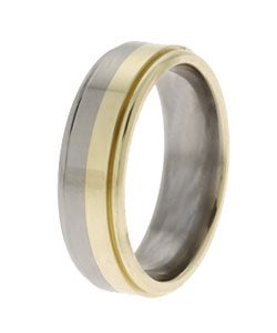 Men's 14k Gold and Titanium Band (7 mm) - Thumbnail 1