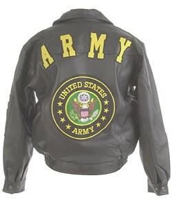 Oscar Piel Leather Jacket with U.S. Army Logo