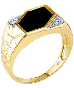 Miadora 14-kt. Yellow Gold Diamond Black Agate Ring - Thumbnail 1