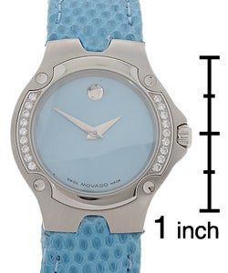 Movado Sports Edition Women's Blue Dial Leather Strap Diamond Watch - Thumbnail 2