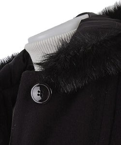 Alorna Wool Long Coat with Faux Fur Collar