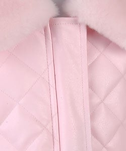 KC Collections Girl's Pink Faux Leather Jacket