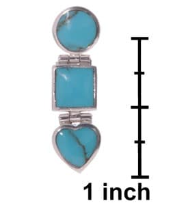 Sterling Silver and Turquoise Dangle Earrings - Thumbnail 2