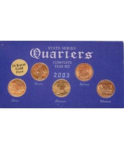 24k Gold Plated 2003 State Quarter Series & Knife Set - Thumbnail 2
