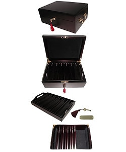 High Roller 500 Chip Poker Set with Mahogany Case - Thumbnail 2