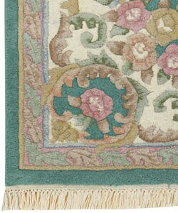 Hand-knotted Aubusson Teal Wool Rug (5' Round)