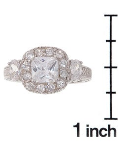 Sterling Silver CZ Engagement Ring - Thumbnail 2