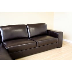 Dana Brown Bi-cast Leather Sectional Sofa - Thumbnail 2