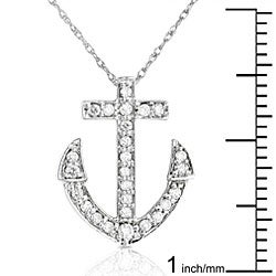 14k White Gold 1/5ct Diamond Anchor Necklace