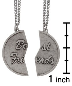 Sterling Silver Best Friends Medal with Two Chains - Thumbnail 2