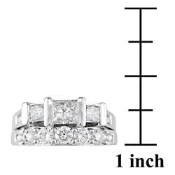 14k White Gold 2 ct TW Diamond Bridal Ring Set - Thumbnail 2