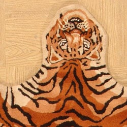 4 X 6 Hand Tufted Tiger Shape Wool Rug Free Shipping