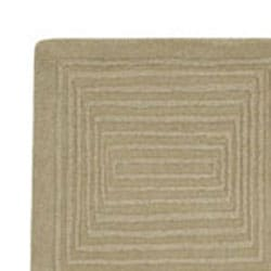 Hand-crafted Solid Beige Geometric Manhattan Wool Rug (3'3 x 5'3) - Thumbnail 2