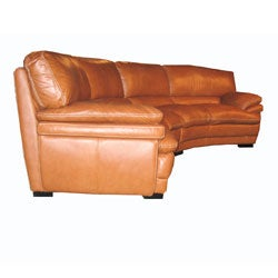 ... Curved Brown Leather Sectional Sofa
