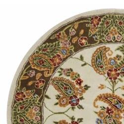 Safavieh Handmade Tabriz Ivory/ Sage Wool and Silk Rug (6' Round) - Thumbnail 2