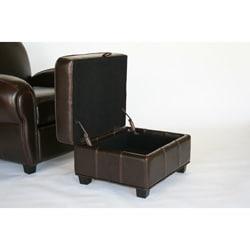 Espresso Brown Reclining Club Chair and Storage Ottoman