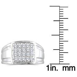 Marquee Jewels 10k White Gold Men's 1/2ct TDW Diamond Square Ring (I-J, I1-I2)
