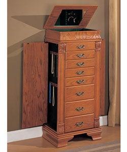 Large Oak Jewelry Armoire (BOOMERANG) - Free Shipping ...