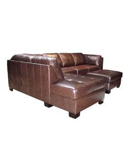 Chocolate Leather Sectional Sofa and Ottoman - Thumbnail 2