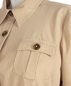 Plus Size Belted Safari Jacket - Thumbnail 2
