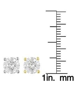 14k Gold 2ct TDW Round Diamond Stud Earrings (E, VS1) - Thumbnail 2