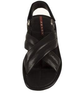 76d1e2eba Shop Prada Sport Men s Leather Criss-Cross Sandal - Free Shipping ...