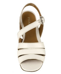 Prada White Leather Basket Weave Sandals