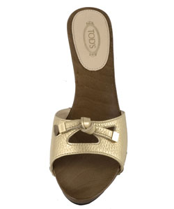 Tod's Gold Leather Slide Sandals - Thumbnail 2