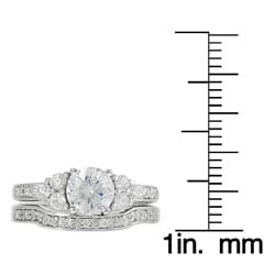 Journee Sterling Silver CZ Solitaire Ring with Matching Band - Thumbnail 2