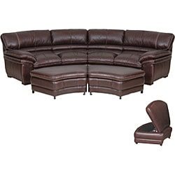 Chocolate Brown Leather Sectional Sofa with 2 Storage Ottomans Overstock